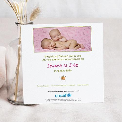 Faire-Part Naissance Jumeaux UNICEF - Cigognes, livraison de jumelles 46319 preview