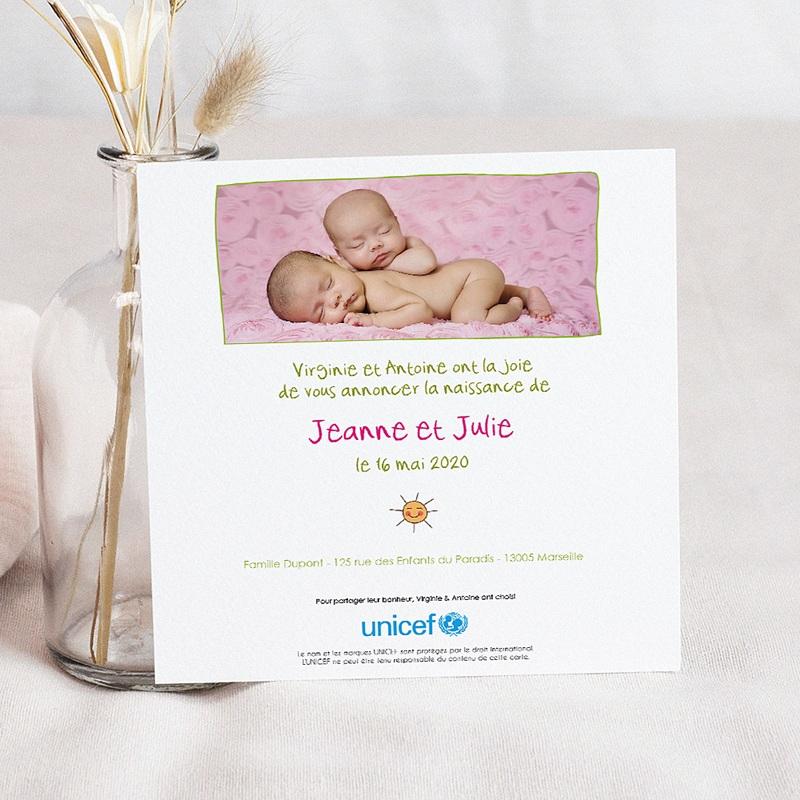Faire-Part Naissance Jumeaux UNICEF Cigognes, livraison de jumelles pas cher