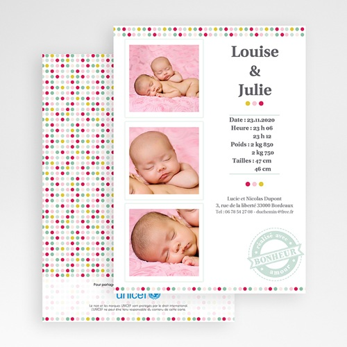 Faire-Part Naissance Jumeaux UNICEF - Passeport Jumelles 46329 thumb