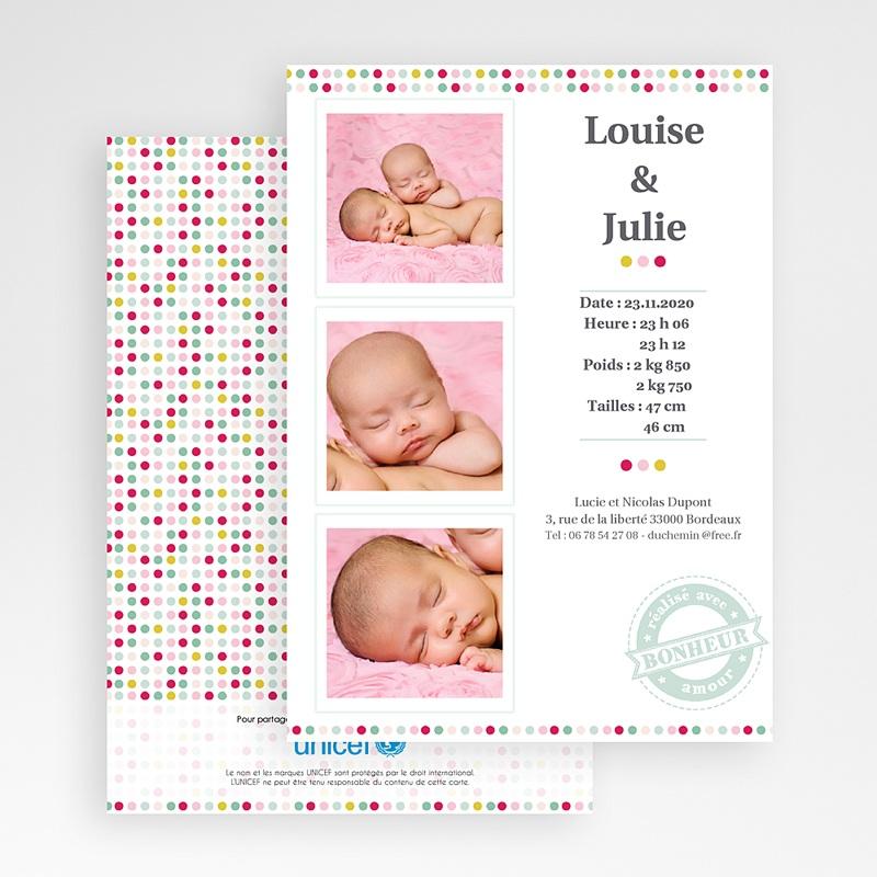 Faire-Part Naissance Jumeaux UNICEF Passeport Jumelles gratuit