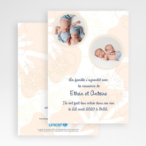 Faire-Part Naissance Jumeaux UNICEF - Tropical Beige 46335 thumb