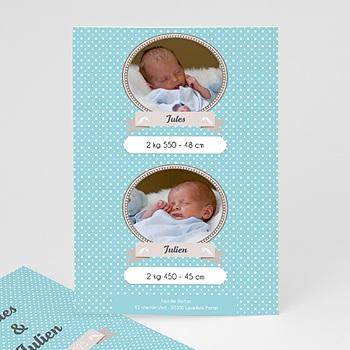 Acheter faire-part naissance jumeaux unicef médaillons jumeaux bleus
