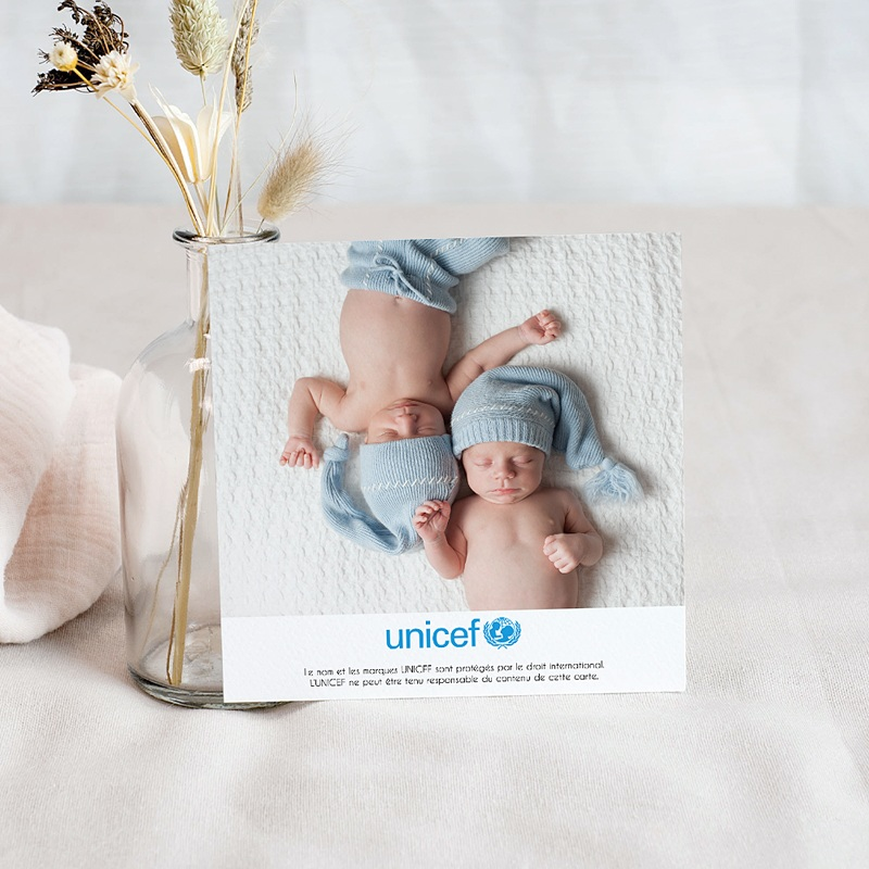 Remerciement Naissance UNICEF Cigognes, livraison Jumeaux pas cher
