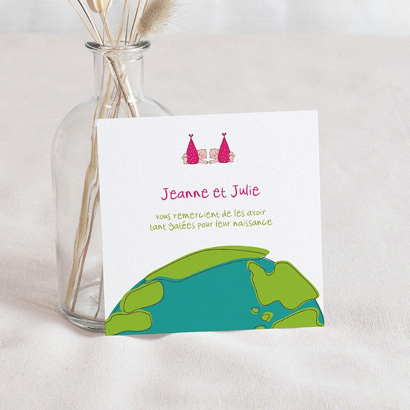 Remerciement Naissance UNICEF Cigognes, livraison de jumelles