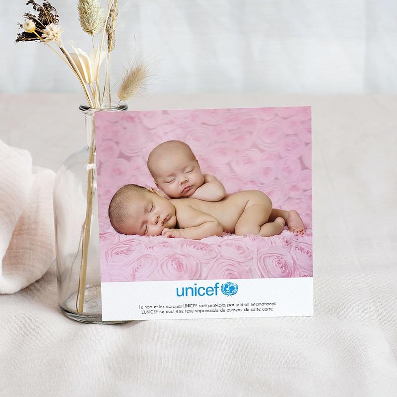 Carte Remerciement Naissance UNICEF Cigognes, livraison de jumelles pas cher