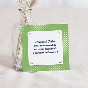 Acheter remerciement naissance unicef médaillons jumeaux verts