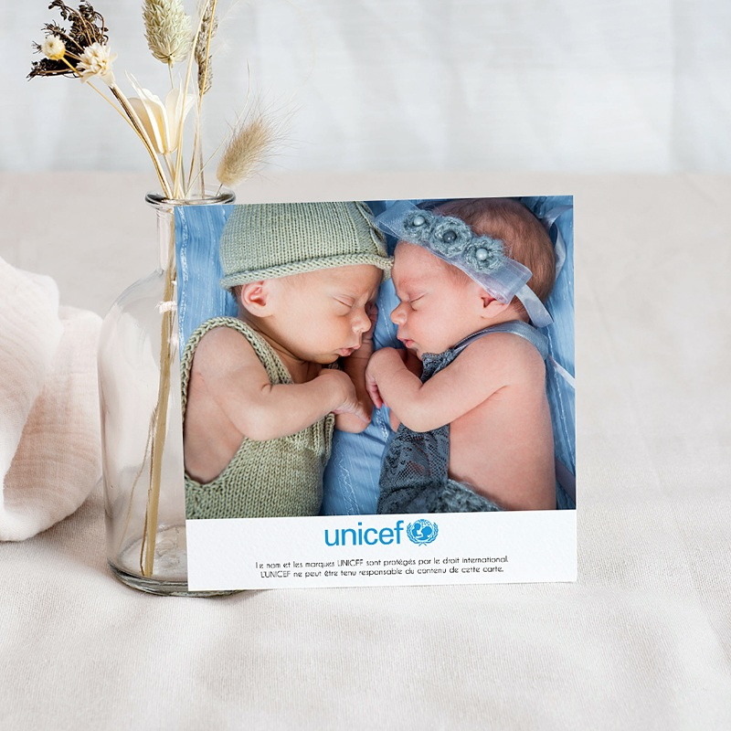 Carte Remerciement Naissance UNICEF Médaillons Jumeaux Verts pas cher