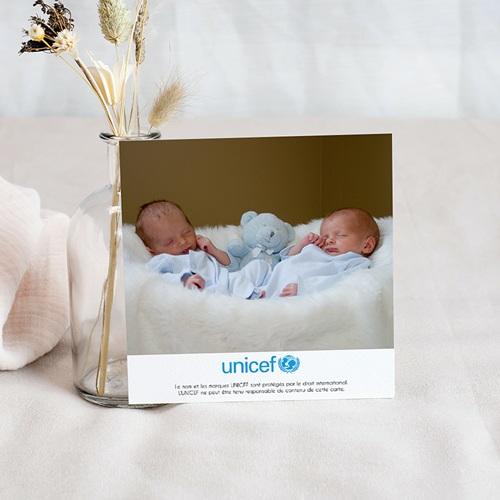 Carte Remerciement Naissance UNICEF Médaillons Jumeaux Bleus pas cher