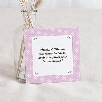 Remerciement naissance unicef médaillon jumeaux roses pas cher