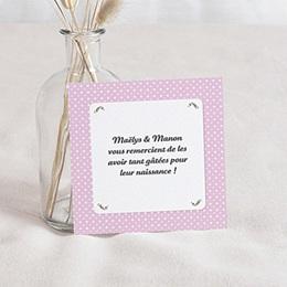 Remerciements Naissance Médaillon Jumeaux Roses