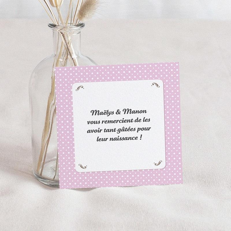Carte Remerciement Naissance UNICEF Médaillon Jumeaux Roses