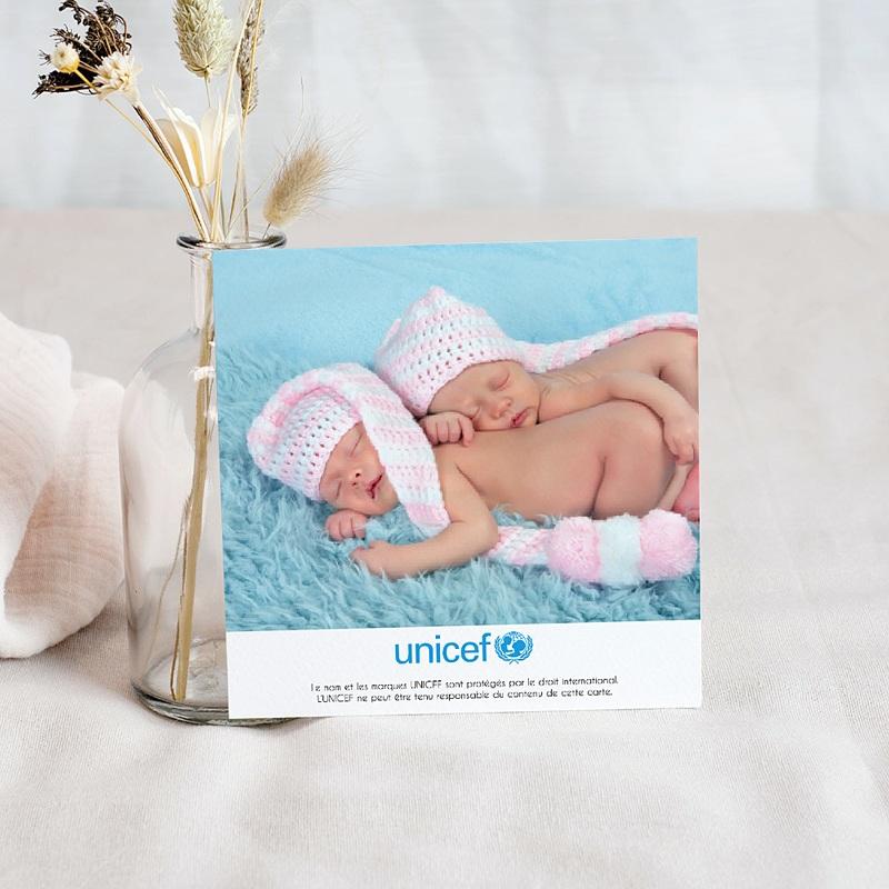 Carte Remerciement Naissance UNICEF Médaillon Jumeaux Roses pas cher