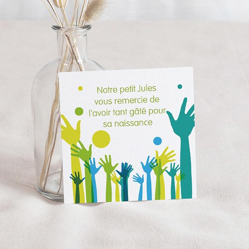 Carte Remerciement Naissance UNICEF Mains levées