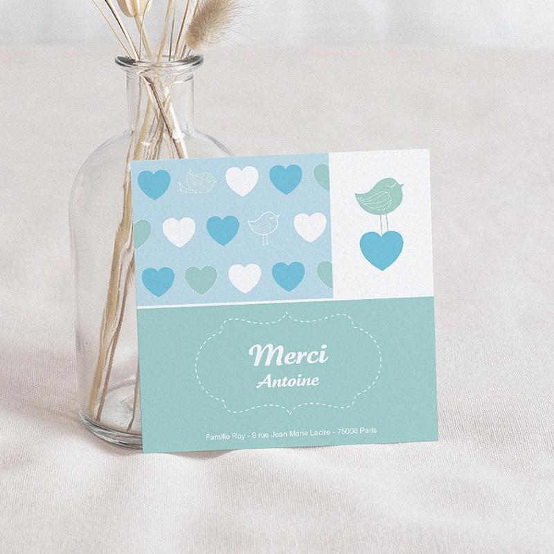 Carte Remerciement Naissance UNICEF Coeur Bleu
