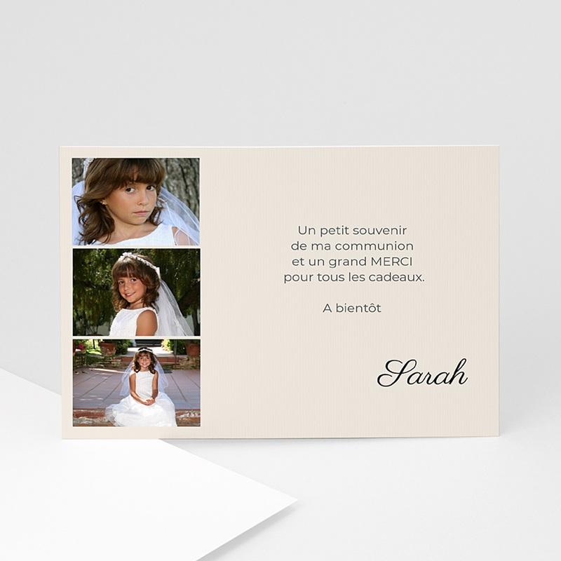 Carte remerciement communion fille Couleurs de ma foi - Sarah