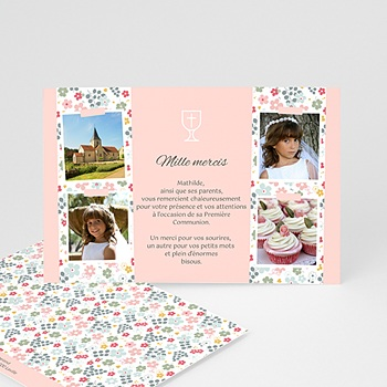 Carte remerciement communion fille floralies pas cher