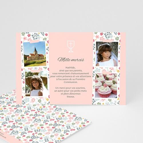 Carte Remerciement Communion Fille Floralies