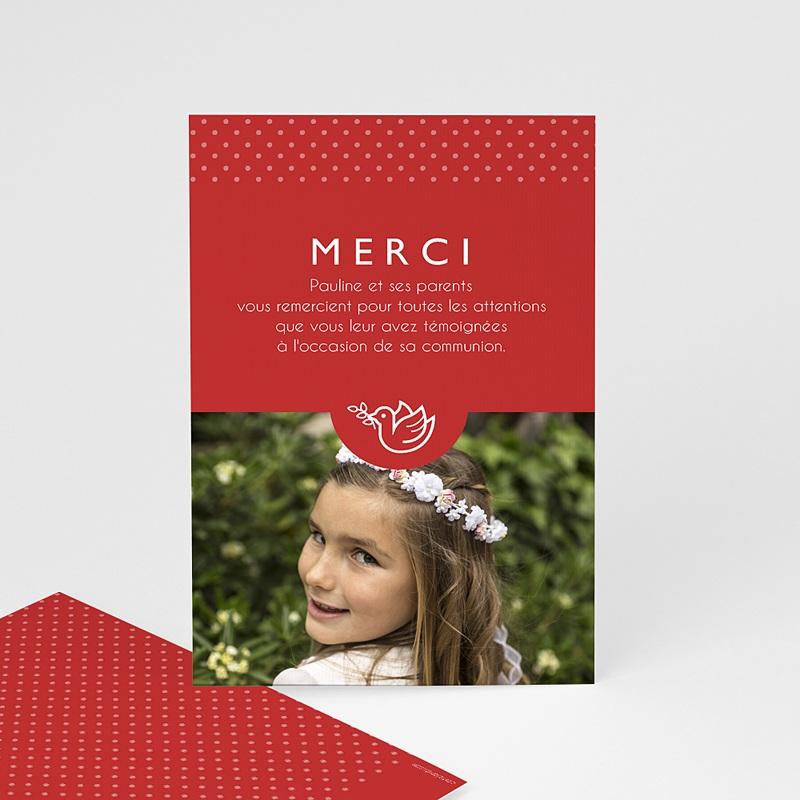 Remerciements Communion Fille - Rouge, Merci 46581 thumb