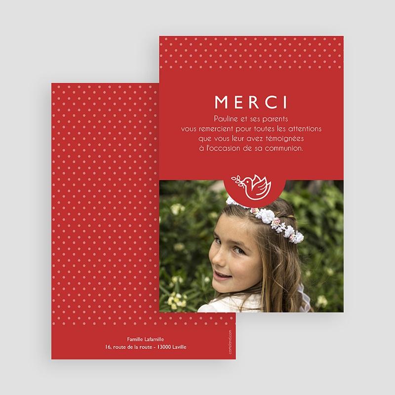 Carte remerciement communion fille Rouge, Merci gratuit