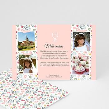 Carte remerciement communion fille fleuri, merci sur mesure