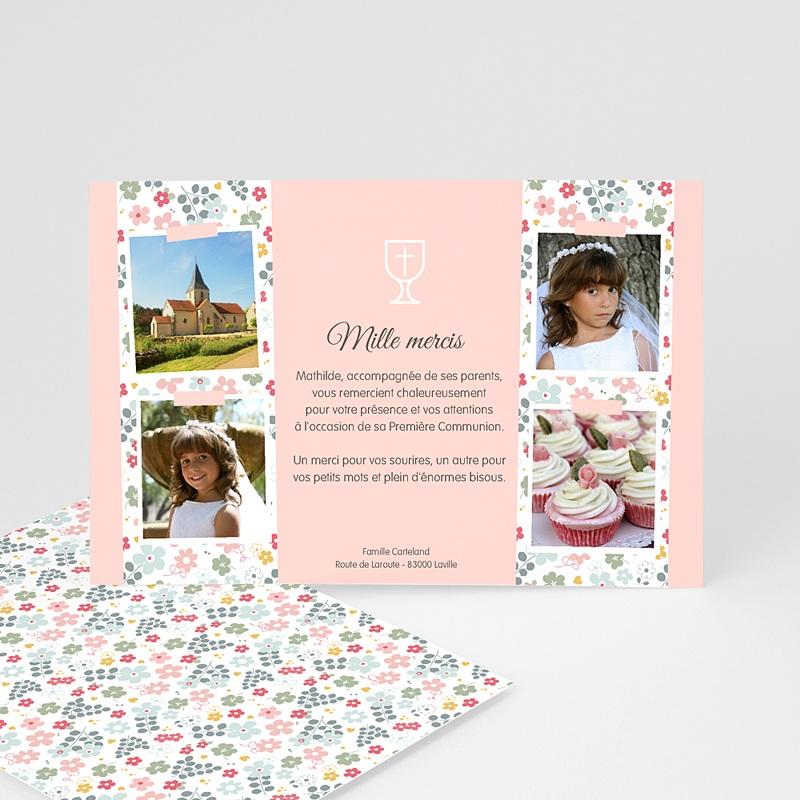 Carte Remerciement Communion Fille Fleuri, merci