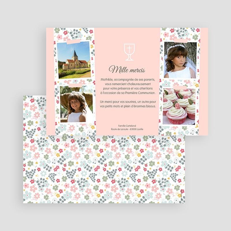 Carte Remerciement Communion Fille Fleuri, merci gratuit