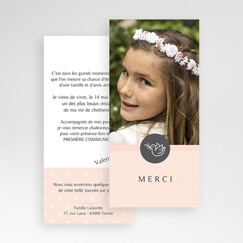 Remerciements Communion Fille - Petit coeur, Merci 46600 thumb