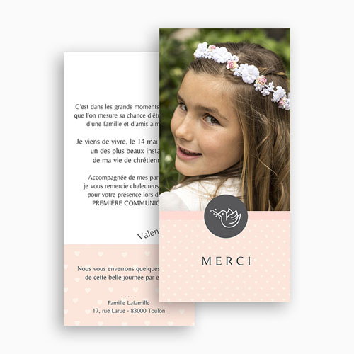 Remerciements Communion Fille - Petit coeur, Merci 46601 thumb