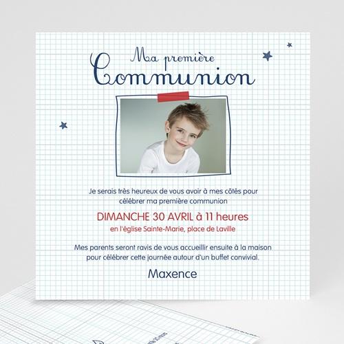 Faire-part Communion Garçon - Eucharistie Ecolier 46656