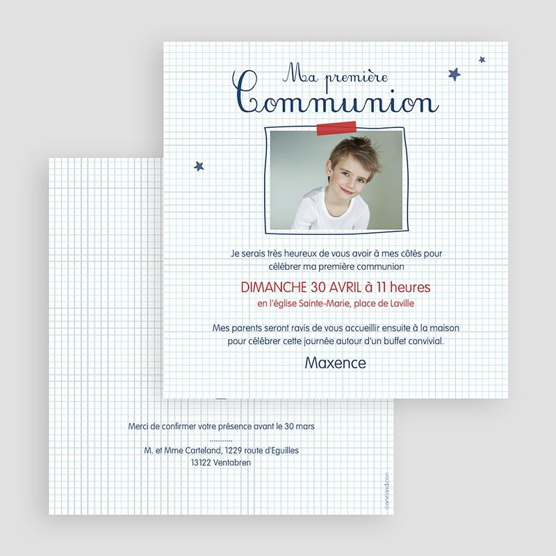 Faire-part communion garçon Eucharistie Ecolier gratuit