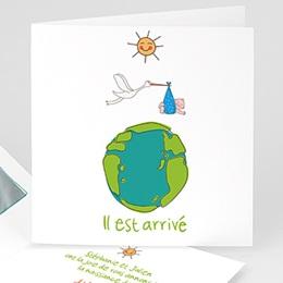 Faire-Part Naissance Garçon UNICEF Cigogne Express