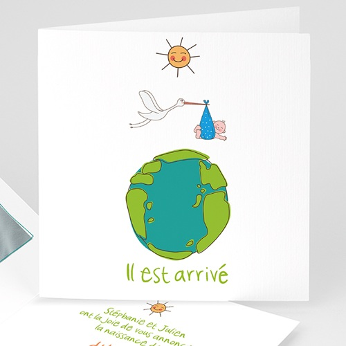 Faire-Part Naissance Garçon UNICEF - Cigogne Express 46696 thumb