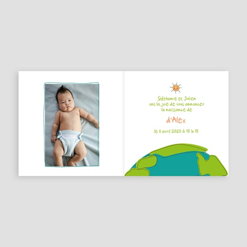 Faire-Part Naissance Cigogne Livraison autour de la terre d'un joli bébé pas cher