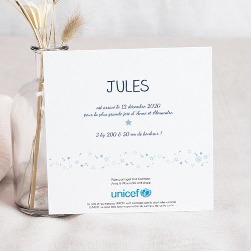 Faire-Part Naissance Garçon UNICEF - Bleu Etoilé 46718 preview