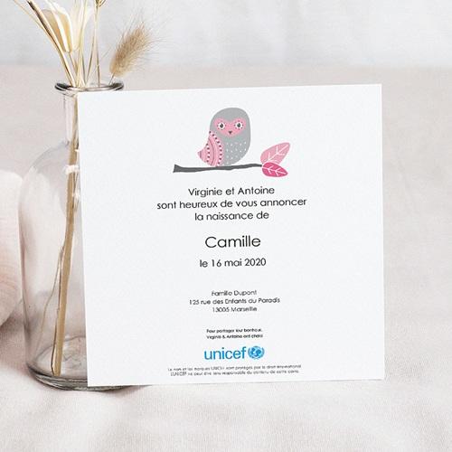 Faire-Part Naissance Fille UNICEF - Chouette Rose 46791 preview