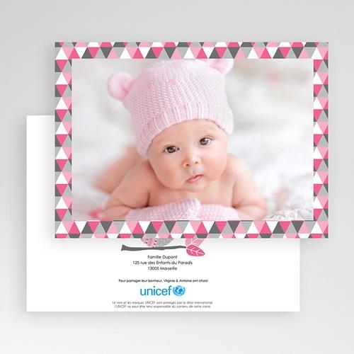 Faire-Part Naissance Fille UNICEF Chouette Rose gratuit