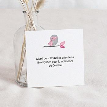 Remerciement naissance unicef chouette rose sur mesure