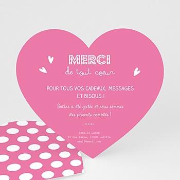 Remerciements Naissance Fille - Petit Coeur Rose - 0