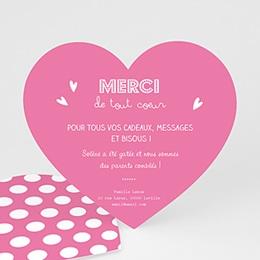 Remerciements Naissance Petit Coeur Rose