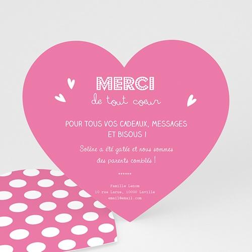 Remerciements Naissance Fille - Petit Coeur Rose 46805