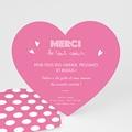 Carte Remerciement Naissance - Petit Coeur Rose - 5249