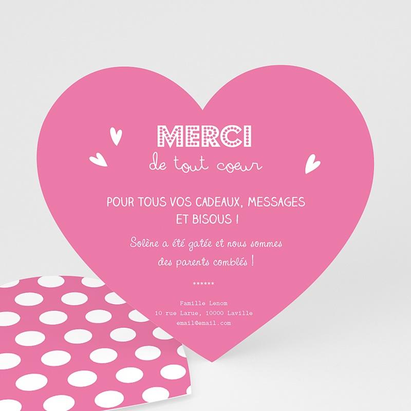 Carte Remerciement Naissance Fille Petit Coeur Rose