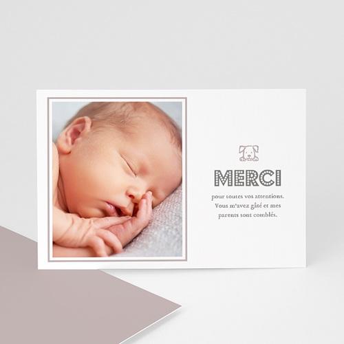 Carte remerciement naissance garçon Martin et le chiot