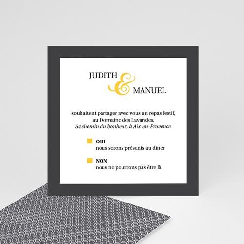 Carte Invitation Mariage - Mariage Estival - gris et jaune 46878