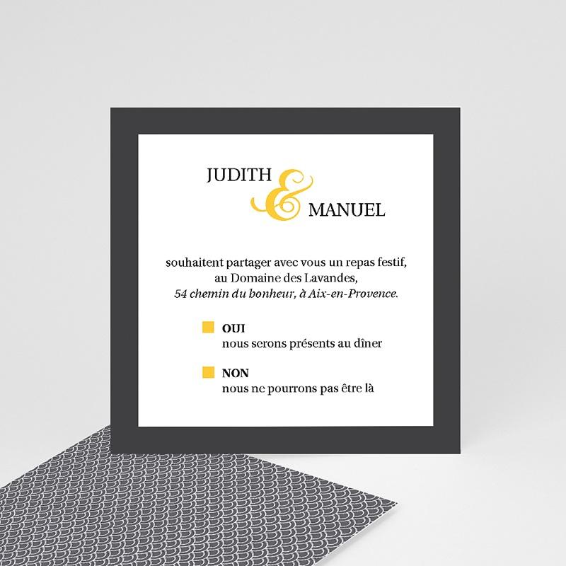 Carte Invitation Mariage Mariage Estival - gris et jaune