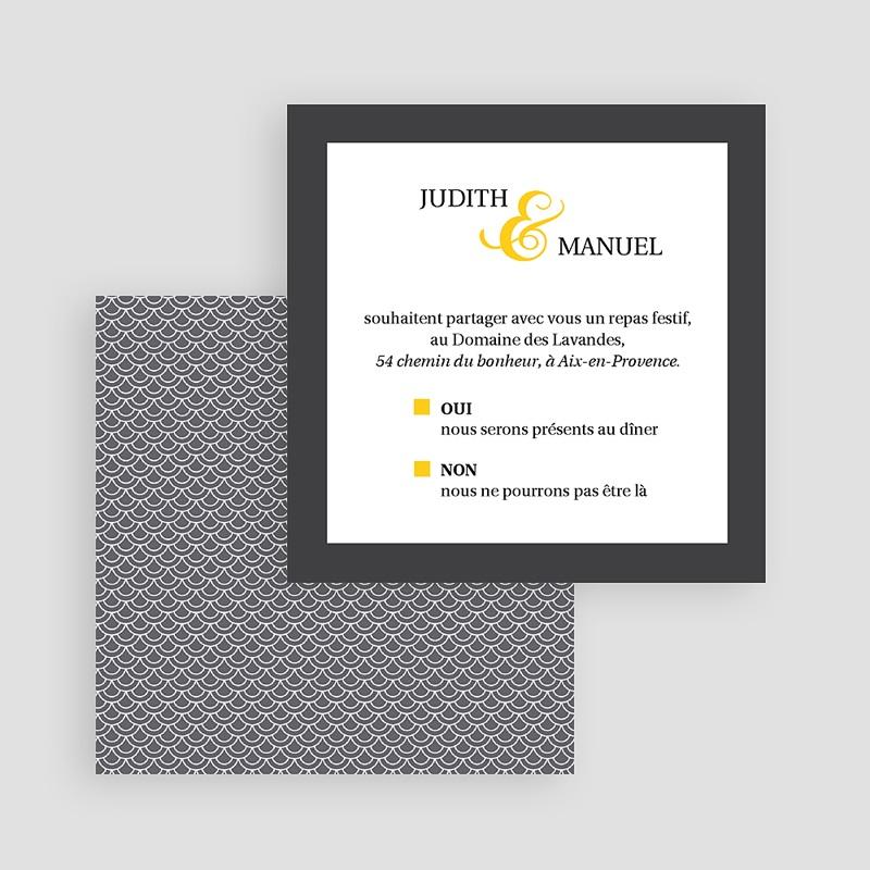 Carte Invitation Mariage Mariage Estival - gris et jaune gratuit