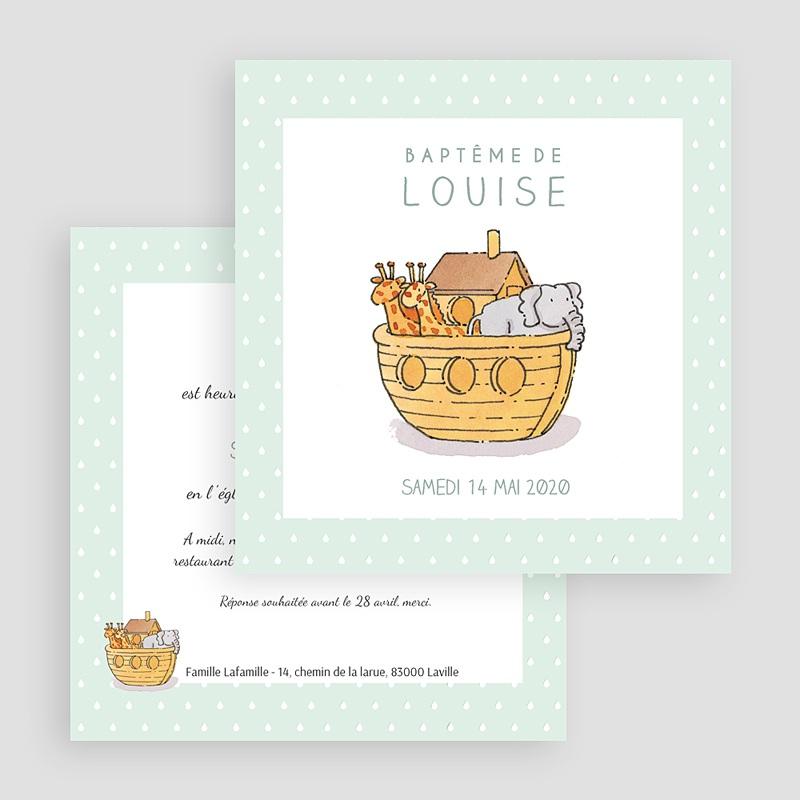 Faire-Part Baptême Fille Arche de Noé gratuit