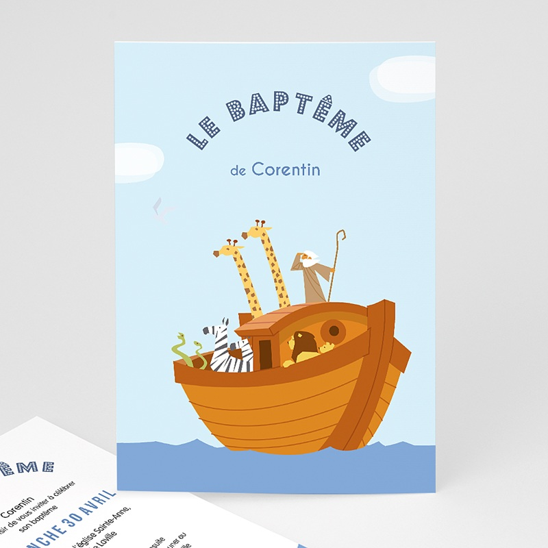 Faire-Part Baptême Garçon Noé