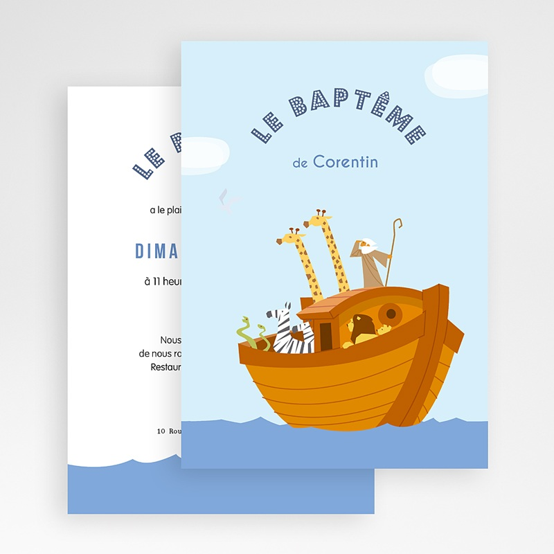 Faire-Part Baptême Garçon Noé gratuit
