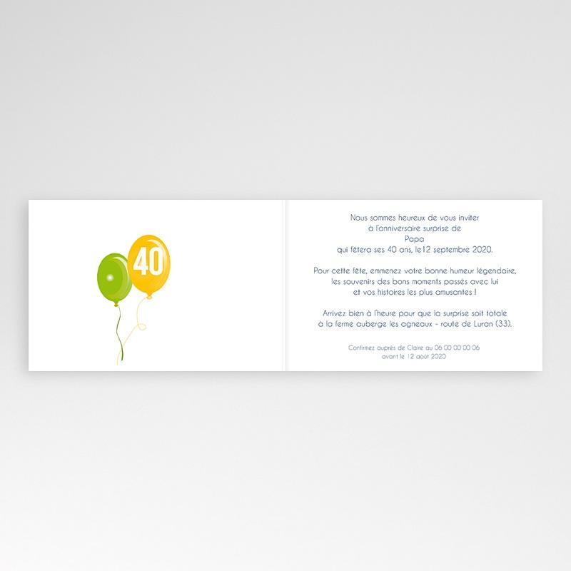 Carte invitation anniversaire adulte Lâcher de ballons pas cher